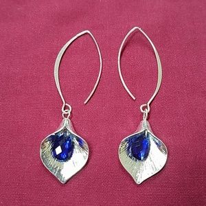 Sterling Calalily Earrings w/Blue Crystal Drops